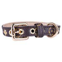 Fashion Floral Printed Dog Collar Classic Style Pu Leashes för Pet Teddy Bulldog Schnauzer Dog Apparel