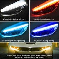 2ピースLED DRL昼間のランニングライトカースタイリング動的ストリーマフローアンバーブロブターンシグナル警告ステアリングフォグデーランプ