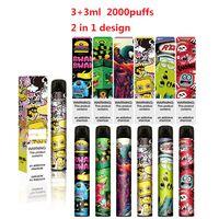 Vaporisateur jetable de la cigarette électrique à double cigarette monster 2 en 1 Design spécial 3 + 3ML 2000buffs OEM Dispositif d'atomisation disponible