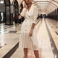 Simplee Vintage Pileli Kemer Elbise Kadın Çentikli A-Line Uzun Kollu Midi Ofis Elbise Patchwork Alt Beyaz Elbise Sonbahar 210304