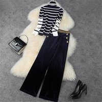 Moda Sonbahar Kış Suit Kadınlar 2021 Yeni Tasarımcılar Balıkçı Yaka Çizgili Örme Üst ve Pantolon 2 Parça Eşleştirme Set Lady Kıyafet