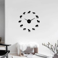 Moose Wall Reloj colgando con movimiento de cuarzo Deco Deco Regalo de Navidad gran ciervo cuernos salvaje vida animal naturaleza 3D DIY reloj de pared x0726