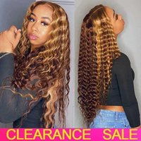 Lace Wigs Highlight Deep Wave Wig Transparent Wet And Wavy Curly Front Human Hair T Part Ombre Frontal