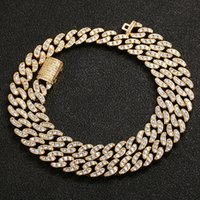 Mens Hip Hop Chain 8mm Prong Setting Micro-inlaid AAA Zircon Iced Out Bling 18K Real Gold Plating Necklace Bracelets Fashion Jewelry For Gift