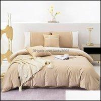 Bedding Supplies Textiles Home & Gardenbedding Set High Quality Single Queen King Size Bed Sheet Solid Color Funda Nordica Duvet Er Sets Wit