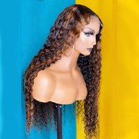 Highlight Curly 150% Density Lace Front Remy Human Hair Wig Scalp Top Closure Wigs With Black Women