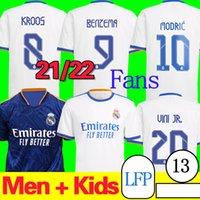 21/22 Camiseta Real Madrid Soccer Jersey Away Blue Adult Benzema Madric Kroos Vini Jr. الصفحة الرئيسية قميص كرة القدم أبيض 2021/2022 مراوح نسخة كرة القدم زي Fútbol Kids Kit