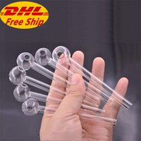 Thick Pyrex Glass Oil Burner Pipe Clear high quality smoking pipes transparent Great Tube oil Nail tips dhl free