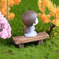 New Carino sedia in legno Sgabello Fairy Garden Garden Miniatures Decor Couple Bench Azione Figurina FAI DA TE Micro Gnome Regalo Terrario EWB7549