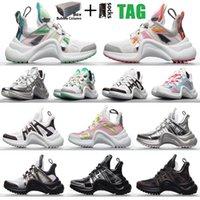 2021 con scatola moda Oid scarpe casual block arco luce sneakers in vera pelle da papà scarpe da uomo donne donne uomini maglia nera traspirante fiocchi piattaforma piattaforma popolare stylis