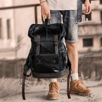 Backpack Black Men Leather Pu Waterproof Laptop Fashion Travel Large Bookbag School Notebook College Bags For Man Vintage Book