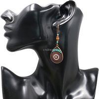 National Enamel Sunflower Water Drop Dangle Earrings Chandelier Women Ear Rings Hoop Ancient Bronze Silver Fashion Jewelry Will and Sandy