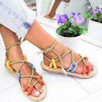 Junsrm 로마 여성 신발 여름 슬리퍼 로프 플랫 레이스 슬리퍼 오픈 토우 여성 샌들 샌들 Feminina Chaussures Femme D3ol #