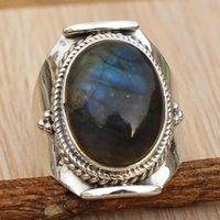 Anelli di nozze Grandi gioielli antichi Gemstone naturale Gemstone Naturale Labradorite Anello di fidanzamento Dimensioni 6 - 10