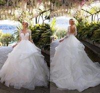 Vestido de noiva lace manga camada de plissado saias sem costas vestidos de casamento 2021 apliques vestidos de bola nupcial vestidos de casamento árabe vintage