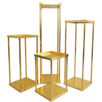 Party Decoration 4-piece Set Wedding Arch Gold-Plated Geometric Flower Stand Home Shiny Metal Iron Rectangle Square Frame Backdrop