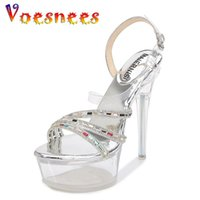 Voesnees 35-43 New Heels Nightclub High Saltos Sapatos Mulheres Sexy Sandálias Pólo Pólo Dancing Sapatos De Cristal Bottor Golden Prata