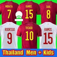 2021 İspanya Futbol Forması Camiseta España Morata Rodrigo Torres Pedri 20 21 Kupası Ramos Thiago Iniesta Alba Futbol Gömlek Erkekler + Çocuklar Kiti Fanlar oyuncu versiyonu