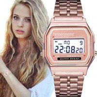 럭셔리 남성과 여성 시계 디자이너 브랜드 시계 CV / F91W FEMMES, Lectronique, Horloge Numrique LED, Cristal Carr Tudiantes