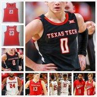 Personalizado 2021 Texas Tech NCAA 23 Jarrett Culver College Basketball Jersey 3 Clarence Nadolny Vladislav Goldin Chris Clarke Kyler Edwards