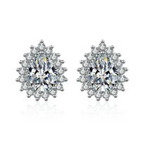 S925 Silver Womens Stud AAA Zircon Water Drop Earrings Women Fashion Temperament Simple Crystal Pearl Earring Wedding Party Jewelry