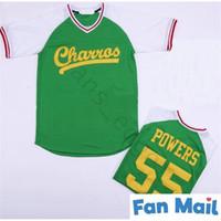 Bon marché Mens Kenny Powers Eastbound et Down Mexicain Charros Baseball Jersey Green Blanc Blanc Black Couvert Jerseys Livraison Gratuite