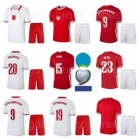 2021-22 Soccer National Team 9 Robert Lewandowski Jersey Set 7 Arkadiusz Milik 1 Wojciech Szczesny 15 Kamil Glik Casa Camisa de Futebol Kits B-L