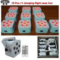 (10pcs +1 Mosca / lote) DMX Wireless Battery Operated LED Flat Light Firared Remoto Wedding UV Uplights