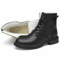 Botas para hombre Botas de nieve de la Guerra de Piel de Invierno Calidad 100% Zapatos de cuero genuino Encaje Up Barcos de cuero Hombres Snow K3EW #