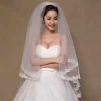 Bridal Veils Lace Edge Veil 2021 Beautiful White Ivory Short 2 Tier Wedding With Comb Bride A00112