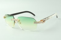 Designer XL diamond sunglasses 3524024 with mixed buffalo horn legs glasses,Direct sales, size: 18-140mm