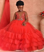2021 Red Lace Beaded Tutu Flower Girl Dresses Ball Gown Long Sleeves Tulle Lilttle Kids Birthday Pageant Weddding Gowns ZJ553