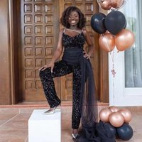 Black Sequin Jumpsuit Prom Dresses Spaghetti Strap Tulle Overskirt Evening Party Outfit Ankle Length Special Occassion Pants