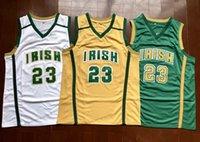 السفينة من الولايات المتحدة ليبرون 23 جيمس كرة السلة جيرسي سانت المدرسة الثانوية الأيرلندية الرجعية الفانيلة مخيط الأبيض الأصفر الأخضر