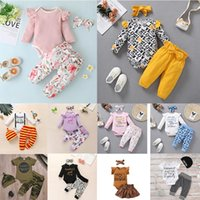 65 أنماط طفل الفتيات الصبي 3 قطعة مجموعات الزهور طباعة رومبير + بانت عقال الرضع الاطفال مجموعة الملابس