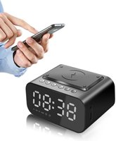 Réveil Horloge Bluetooth Haut-parleur LED Horloges numériques intelligentes Table électronique de bureau de bureau électronique avec chargeur sans fil