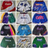 Team Basketball Shorts Just Don Wear Sport Pant med Pocket Zipper Sweatpants Hip Pop Blue White Black Purple Mens Stitched Size S-XXXL