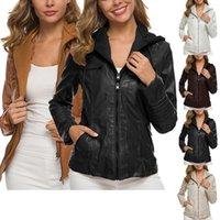 Casaco feminino cor sólida de manga comprida casaco de couro com capuz para mulheres, s / l / xl / xxl / xxxl