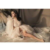 Couture Tulle Maternity Dress One 어깨 긴 메쉬 신부 들러리 출산 Photoshoot 또는 Babyshower Bridal Gowns