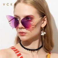 Солнцезащитные очки VCKA Бабочка Женщины Мода Орисованный Flame Flame Солнцезащитные Стразы Зеркало Роскошные Кошка Глаз Eyewear UV400 Oculos Masculino