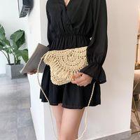 Großhandel Sommer Stroh Taschen für Frauen Handgemachte Quaste Strandtaschen 2020 Rattan gewebt Handtaschen Urlaub Schulter Crossbody Clutch