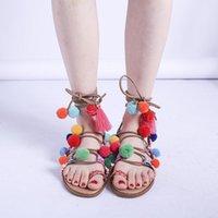 Sandals Brand Designer Colorful Ball & Fringe Pompon Style Thong Flip Flops Lace Up Tassels Gladiator Woman Summer Casual Shoes
