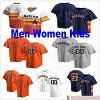 Benutzerdefinierte 2020 Männer Frauen Jugend Baseball 27 Jose 2 Alex Altuve Bregman 1 Carlos Correa George Springer Justin Verlander genäht Kinder Jersey