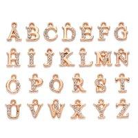 260pcs 10crets 13mm A-Z Lettres Charms Pendentif Alliage de luxe Strinest Strasstal Alphabet Charms Pendentif pour Collier Bracelet Bracelet DIY Bijoux