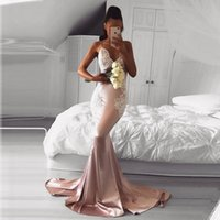 New Pink Mermaid Evening Dresses Wear V Neck Lace Appliques Sexy Crystal Beaded Sleeveless Sheer Back Formal Prom Dress Party Gowns
