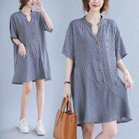 145Kg Plus size women's summer V-neck striped shirt dress bust 144cm 6XL 7XL 8XL 9XL loose buttoned A-line dress