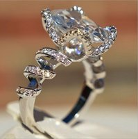 Wedding Rings Luxury Big Square Cubic Zircon Engagement For Women Silver Color Finger Ring Jewelry Bridemaids Accessories
