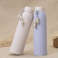 Glasschale Hohe Qualität Ähnliche Rattan Mode Doppelflaschen Schicht Isoliertes Geschenk Student Tragbare Wasser Große Kapazität Outdoor-Nutzung DH0034
