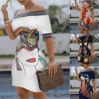 Женские дизайнерские косой шеи платье женские цифровые печатные платья сексуальные тонкие карандаш платье для женщин