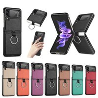 Fashion Litchi Grain Protective Bracelet Ring Cases Folding Design Dexterity and Touchness Shockproof Anti-Scratch Full Body For Samsung Galaxy Z Flip 3 5G Flip3